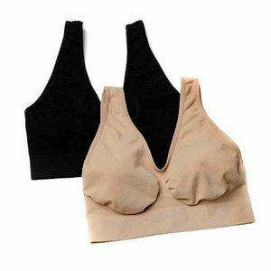 Rhonda Shear Ahh Bra 2 Pack Black Tan Size Large